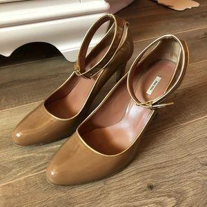 Miu Miu Tan and Gold Heels